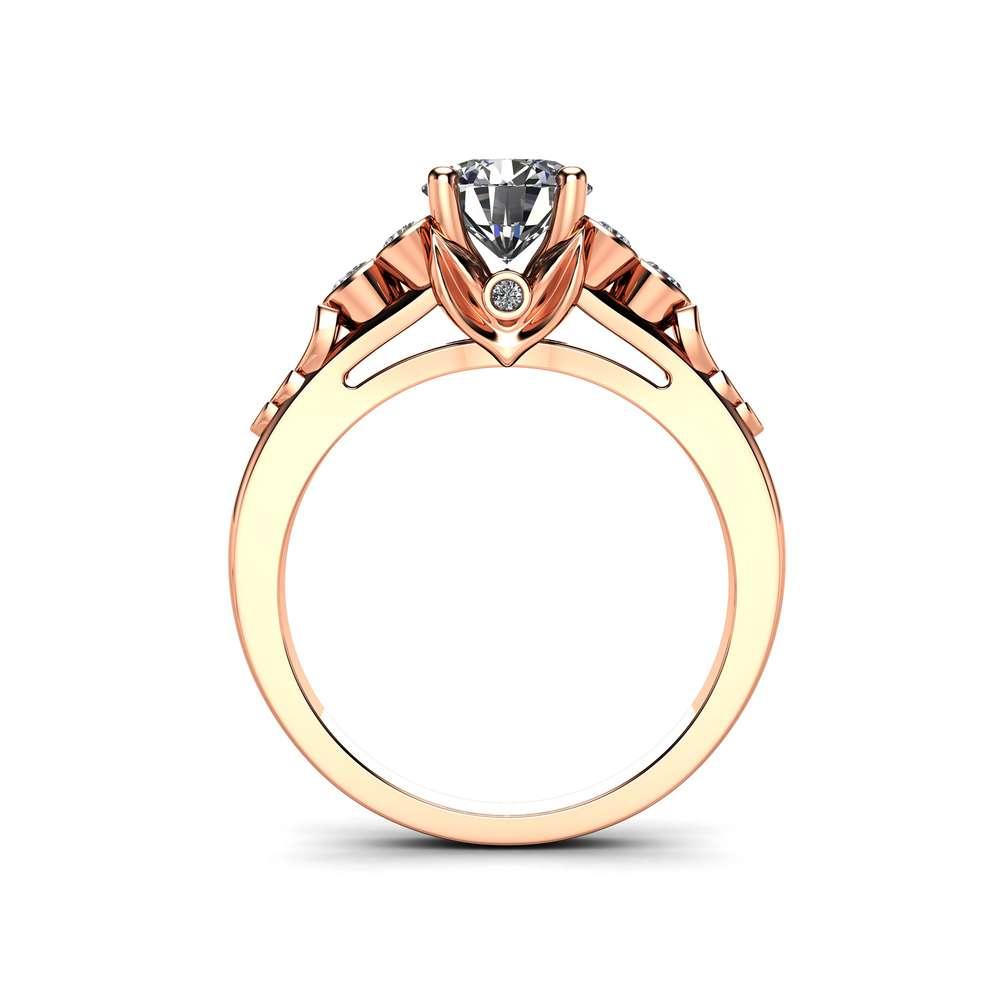 Unique Moissanite Engagement Ring 14K Rose Gold Leaves Ring Unique Side Diamonds Engagement Ring