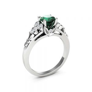 Natural Emerald Engagement Ring Unique Leaves 14K White Gold Ring 1 Ct. Emerald Ring