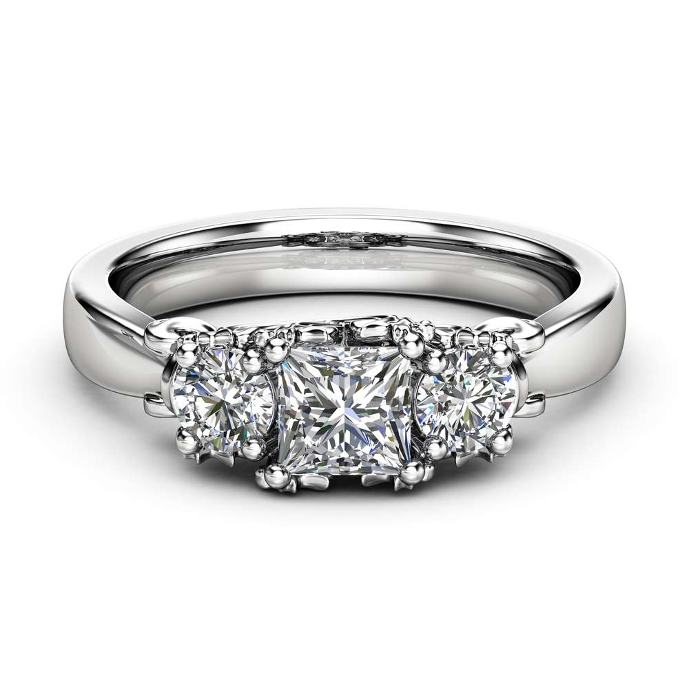 Three Stone Diamond Engagement Ring Solitaire White Gold Promise Ring Classic Diamond Engagement Ring