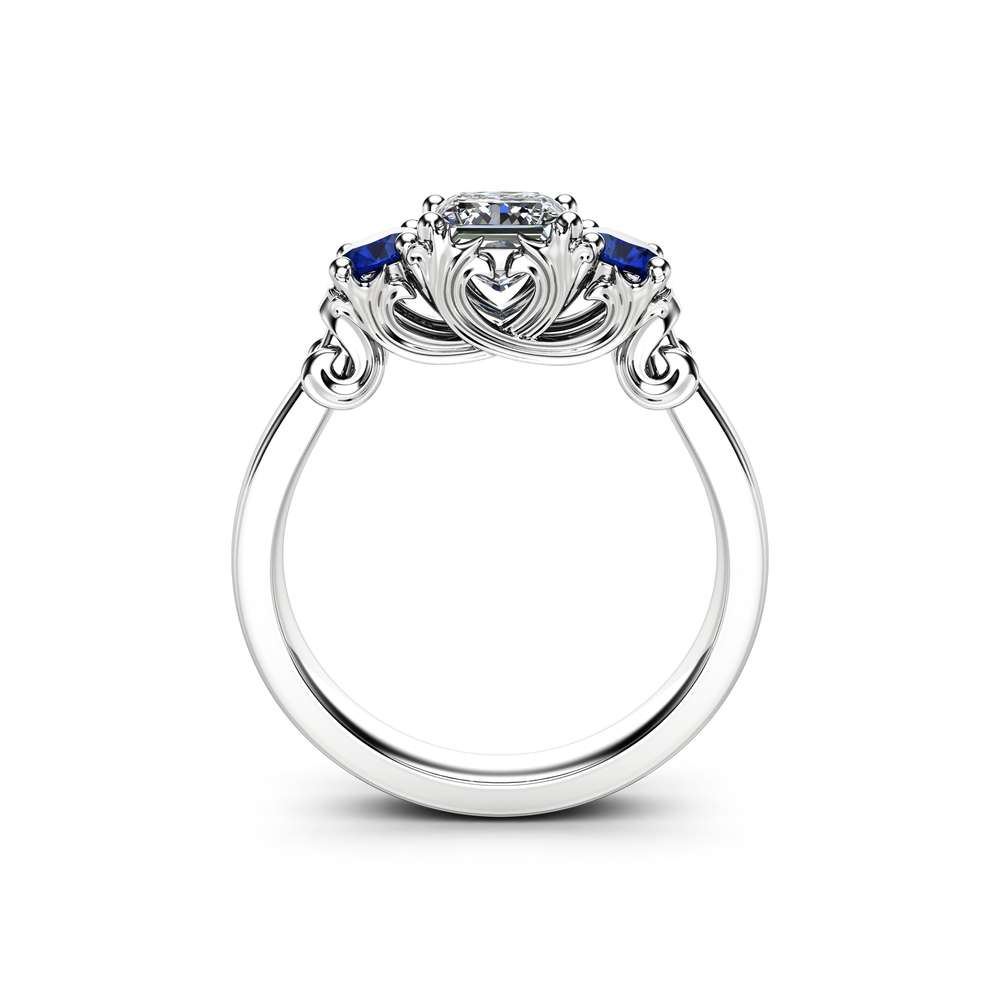 Three Stone Diamond Sapphire Engagement Ring Classic White Gold Promise Ring Princess Diamond Engagement Ring