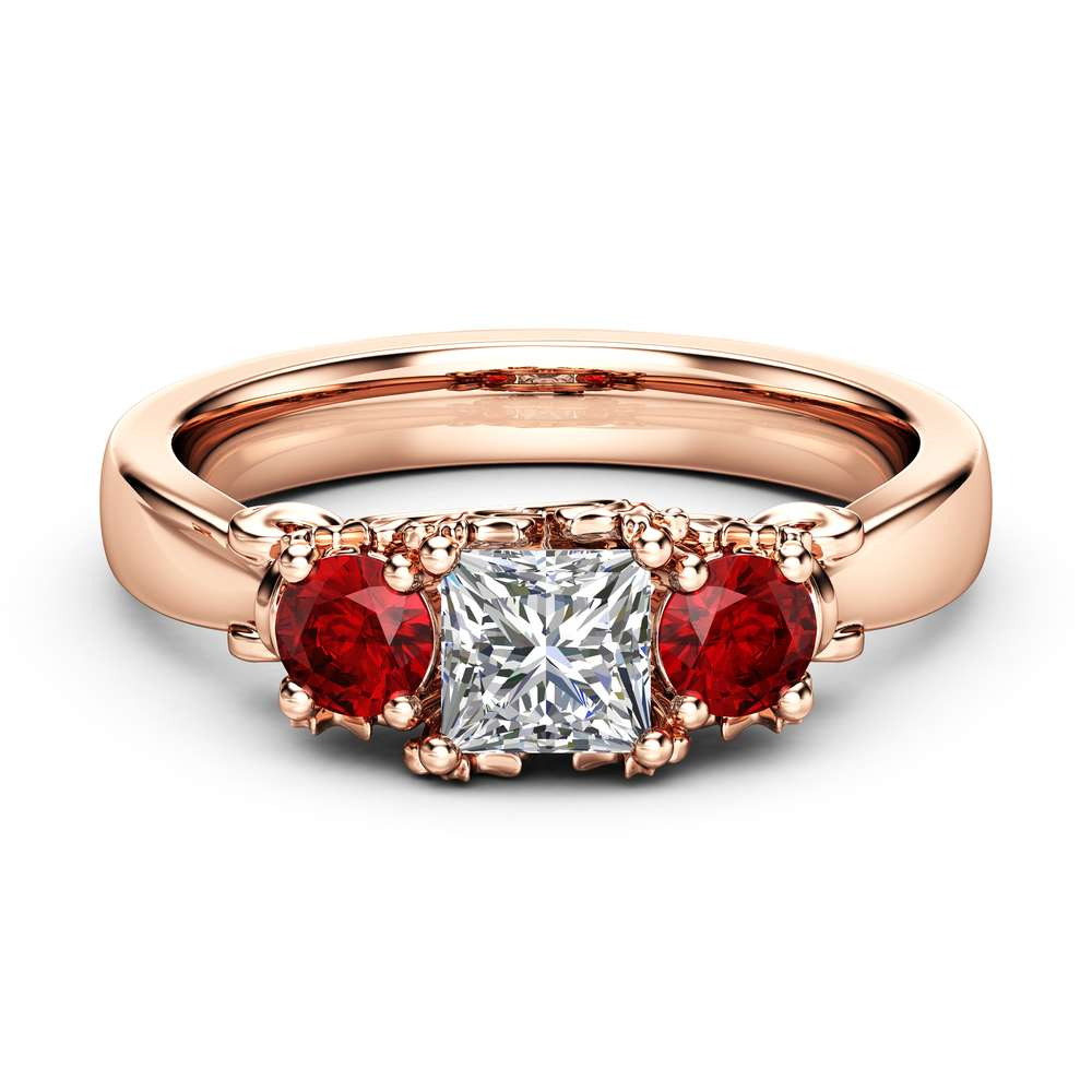 Three Stone Diamond Ruby Engagement Ring Classic Rose Gold Promise Ring Princess Diamond Engagement Ring