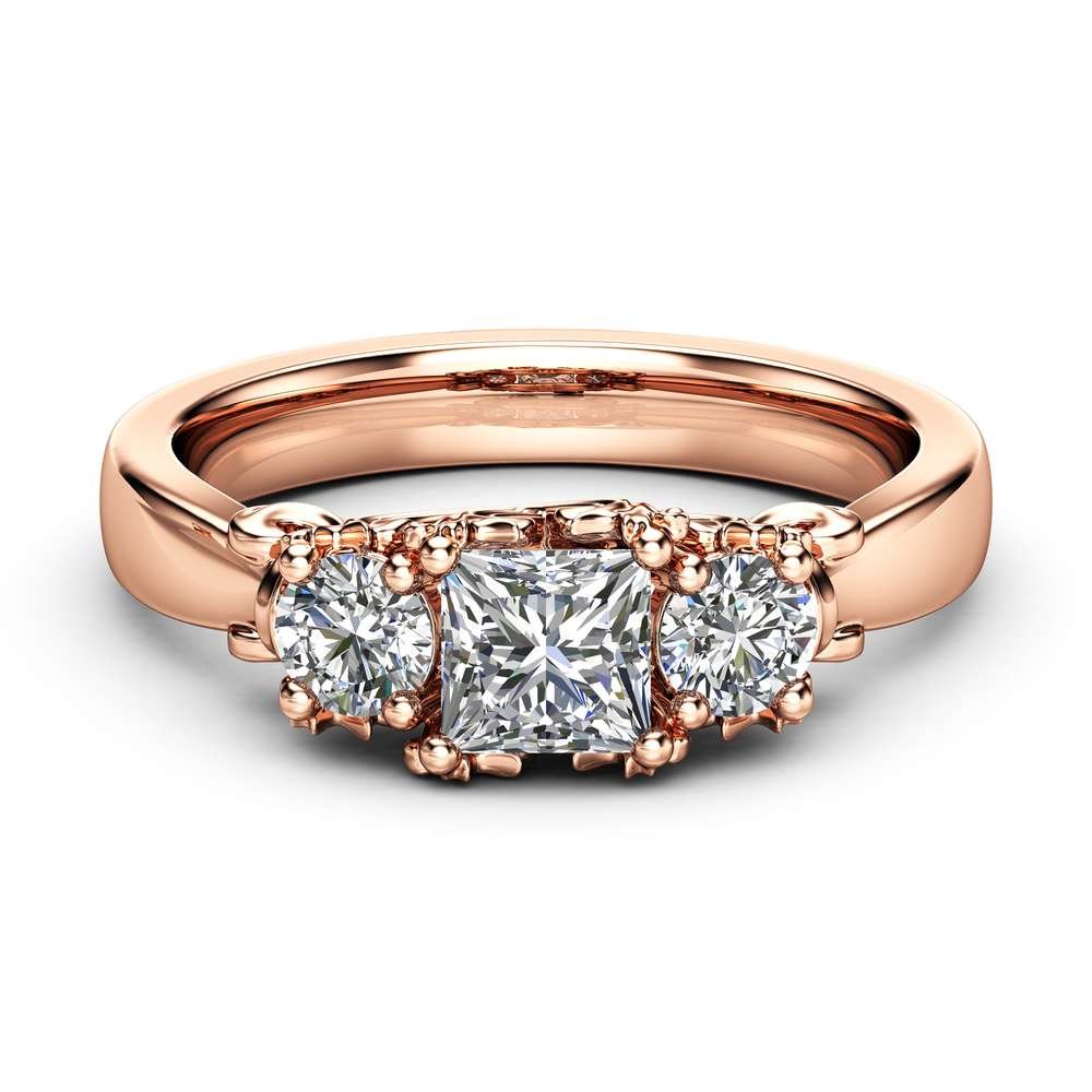 Three Stone Diamond Engagement Ring Solitaire Rose Gold Promise Ring Classic Diamond Engagement Ring