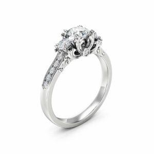 Three Stone Diamond Engagement Ring 14K White Gold Ring Art Deco Engagement Ring