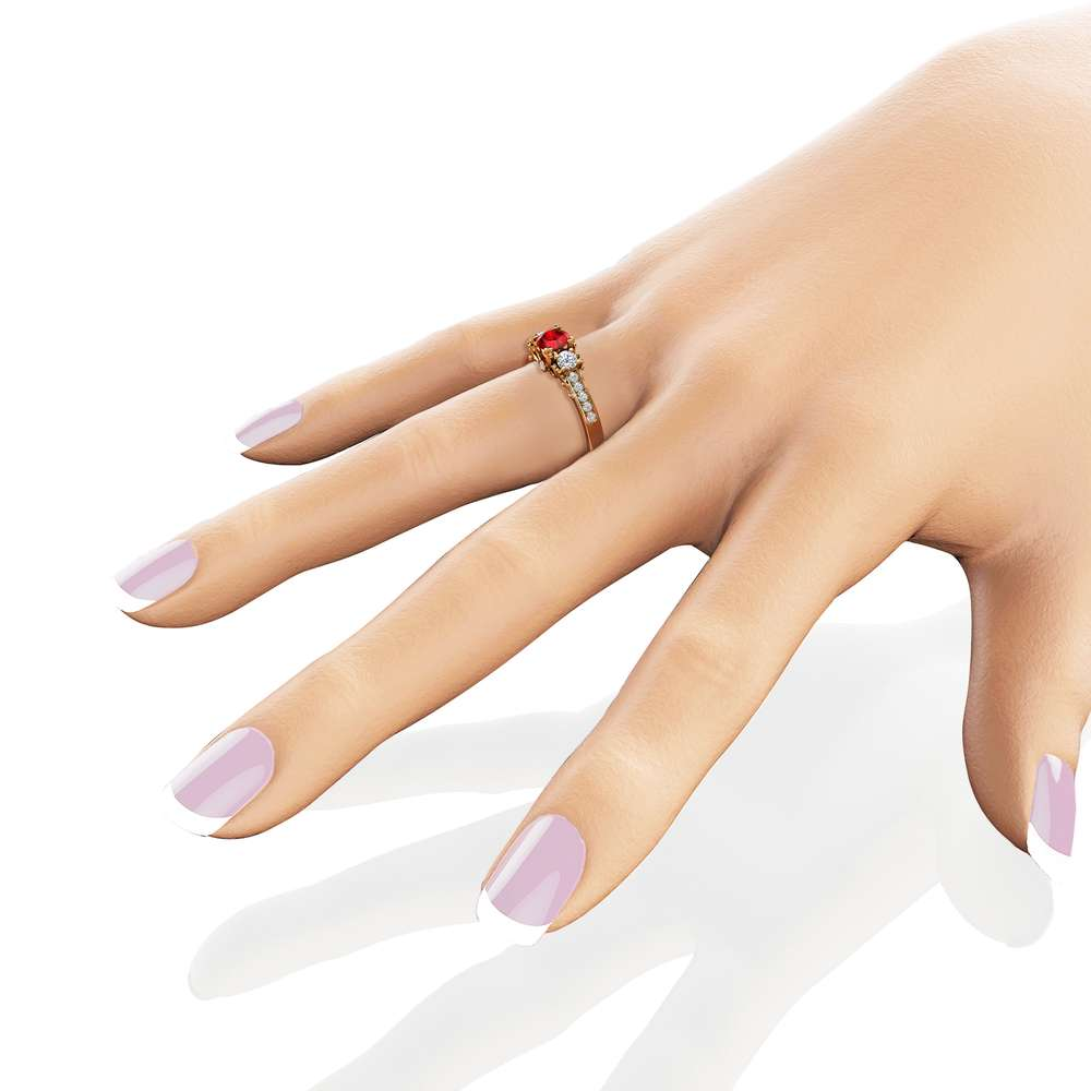 Three Stone Diamond Ruby Engagement Ring 14K Yellow Gold Ring Art Deco Engagement Ring
