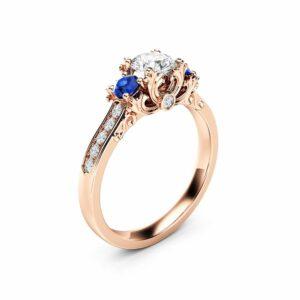 Three Stone Diamond Sapphire Engagement Ring 14K Rose Gold Ring Art Deco Engagement Ring