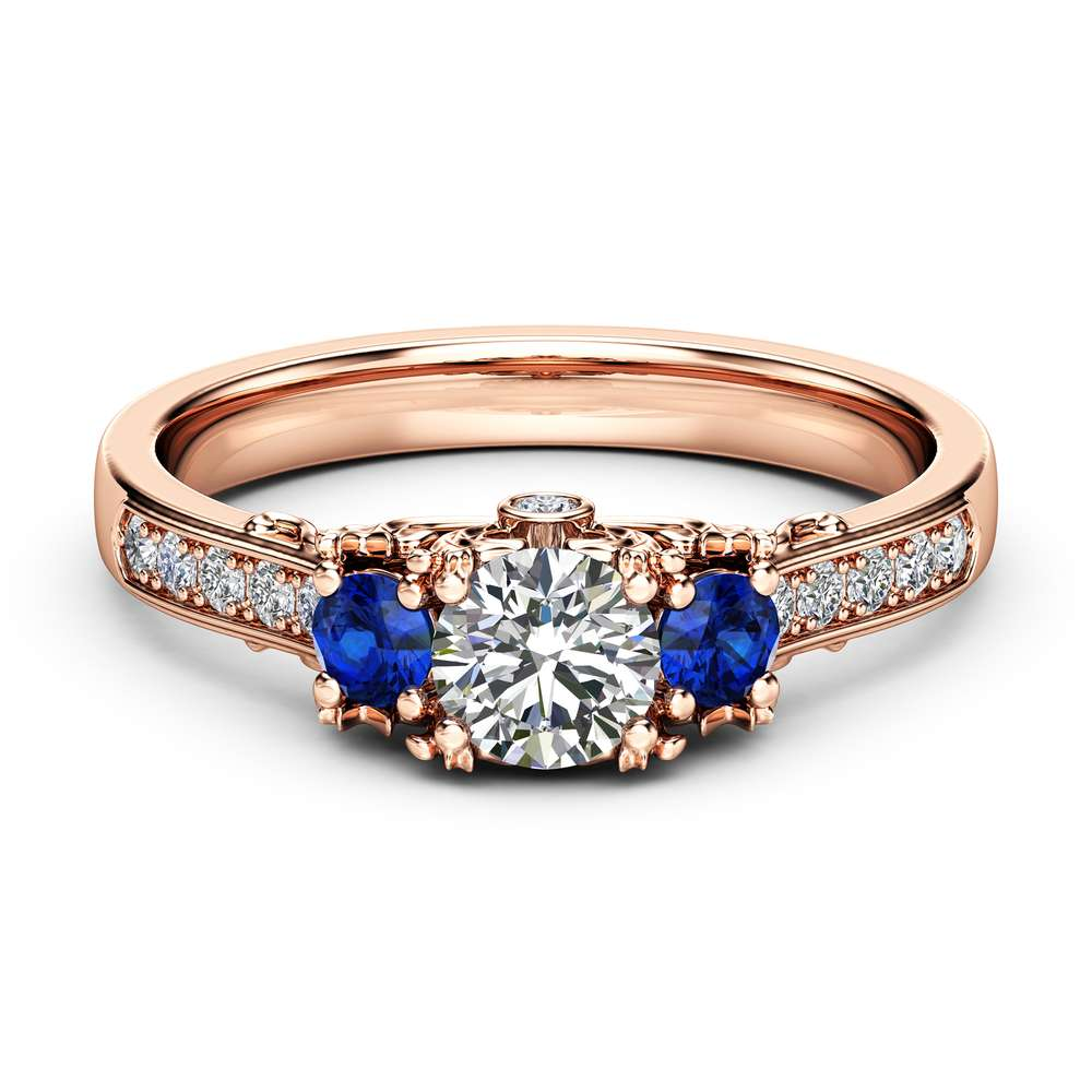 Three Stone Diamond Sapphire Engagement Ring 14K Rose Gold Ring Art Deco Engagement Ring