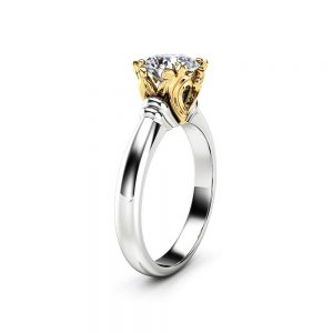 Solitaire Moissanite Promise Ring 14K Two Tone Gold Engagement Ring Victorian Ring Anniversary Gift