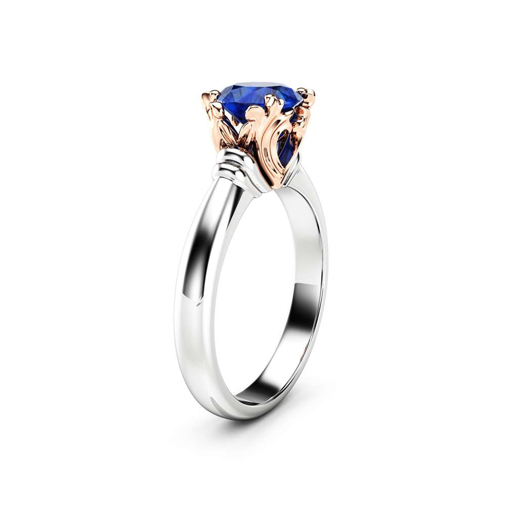 Solitaire Sapphire Promise Ring 14K Two Tone Gold Engagement Ring Victorian Ring Anniversary Gift