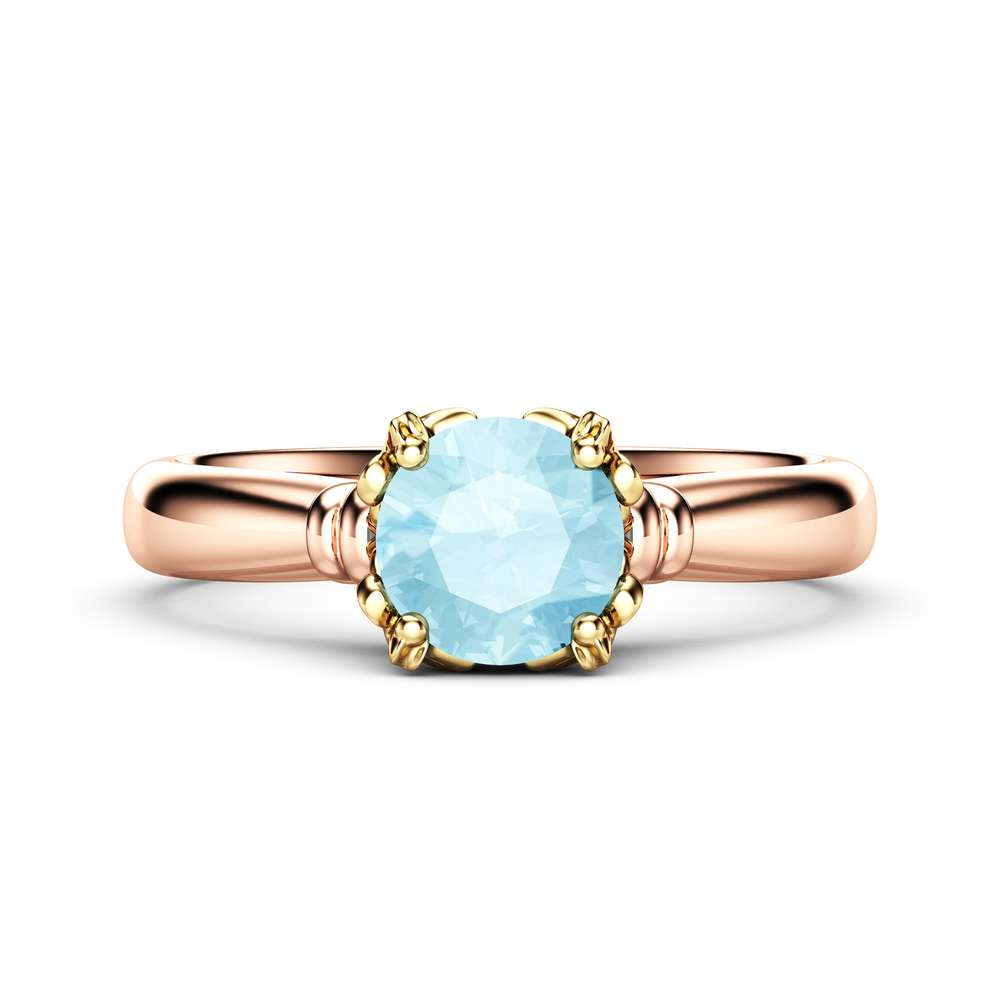 Solitaire Aquamarine Promise Ring 14K Rose and Yellow Gold Engagement Ring Victorian Ring Anniversar