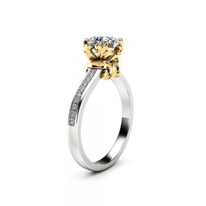 Moissanite Vintage Promise Ring 14K Two Tone Engagement Ring Half Eternity Victorian Ring Gift for H