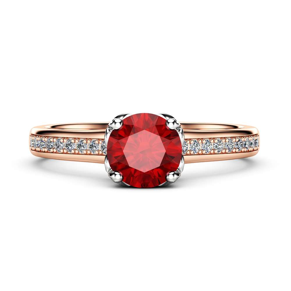 Ruby Vintage Promise Ring 14K two Tone Gold Engagement Ring Half Eternity Victorian Ring Gift for Her