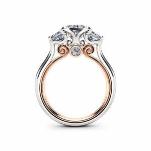 Diamond Engagement Ring Moissanite Engagement Ring  Rose & White Gold Ring