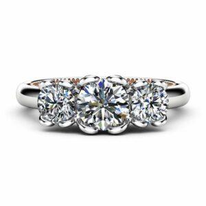 Moissanite Engagement Ring Rose & White Gold Ring Unique Engagement Ring
