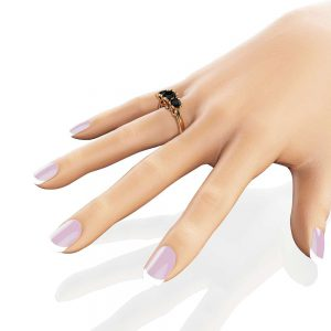 Black Diamond Engagement Ring Art Deco Wedding Band Unique Engagement Ring