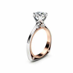 Unique Engagement Ring Moissanite Ring 18K Two Tone Gold Ring Milgrain Engagement Ring