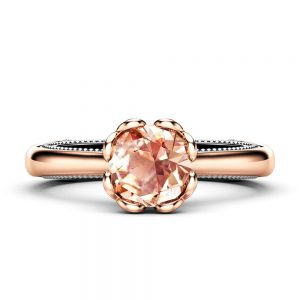 Peach Sapphire Engagement Ring 18K Two Tone Gold Ring Unique Milgrain Engagement Ring