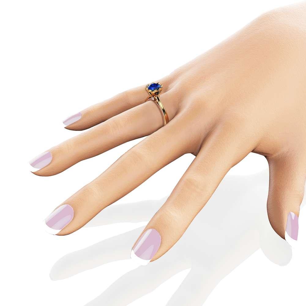 Blue Sapphire Engagement Ring 14K Two Tone Gold Ring Unique Milgrain Engagement Ring