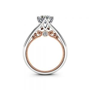 Unique Engagement Ring Rose & White Gold Ring Moissanite Engagement Ring