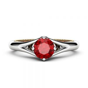 Unique Engagement Ring Ruby Engagement Ring White Gold Ring