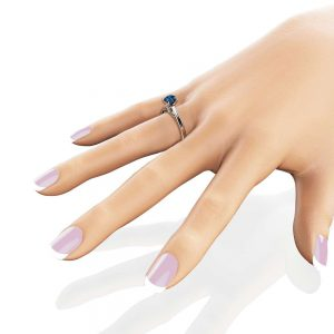 Blue Diamond Engagement Ring White Gold Ring Diamond Engagement Ring