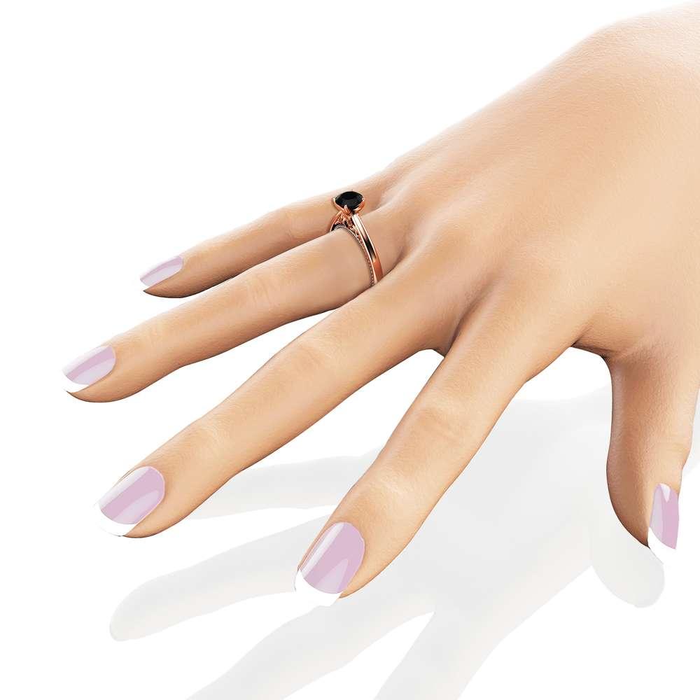 Black Diamond Engagement Ring Rose & White Gold Ring Diamond Engagement Ring