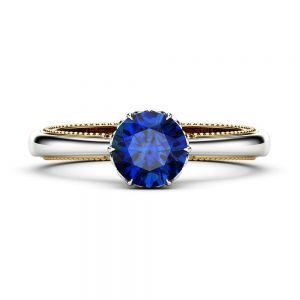 Blue Sapphire Engagement Ring Vintage Engagement Ring White Gold Ring