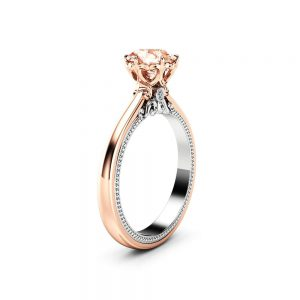 Peach Sapphire Engagement Ring Vintage Engagement Ring Rose & White Gold Ring