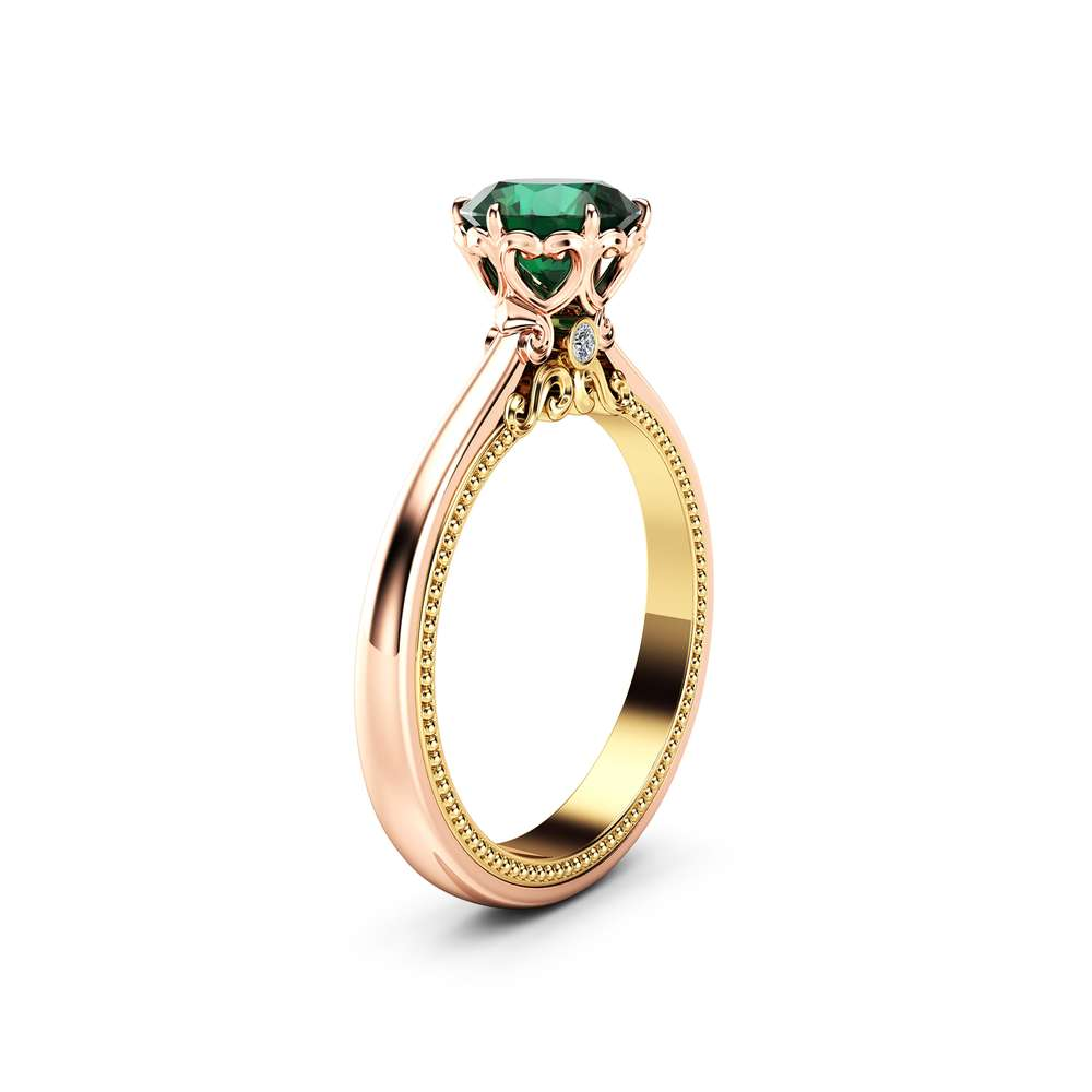 Emerald Engagement Ring Vintage Engagement Ring Rose Gold Ring