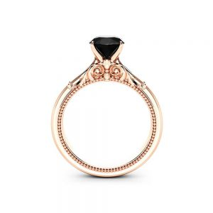Solitaire Black Diamond Promise Ring 14K Rose Gold Engagement Ring Miligrain Art Deco Ring Anniversary Gift