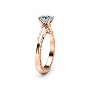 14K Rose Gold Moissanite Engagement Ring, Unique Engagement Ring, Vintage Engagement Ring, Filigree Vintage Ring, Unique Anniversary Gift