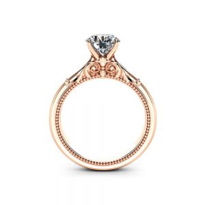 14K Rose Gold Moissanite Engagement Ring, Unique Engagement Ring, Vintage Engagement Ring, Filigree Vintage Ring, Unique Anniversary Gift