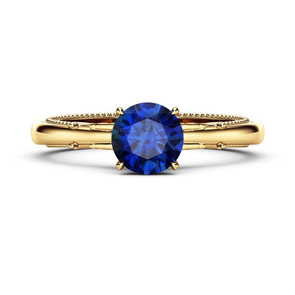 Blue Sapphire Engagement Ring / 14k Gold Blue Sapphire Ring for Women / Unique Blue Gemstone Ring / Alternative Vintage Engagement Ring