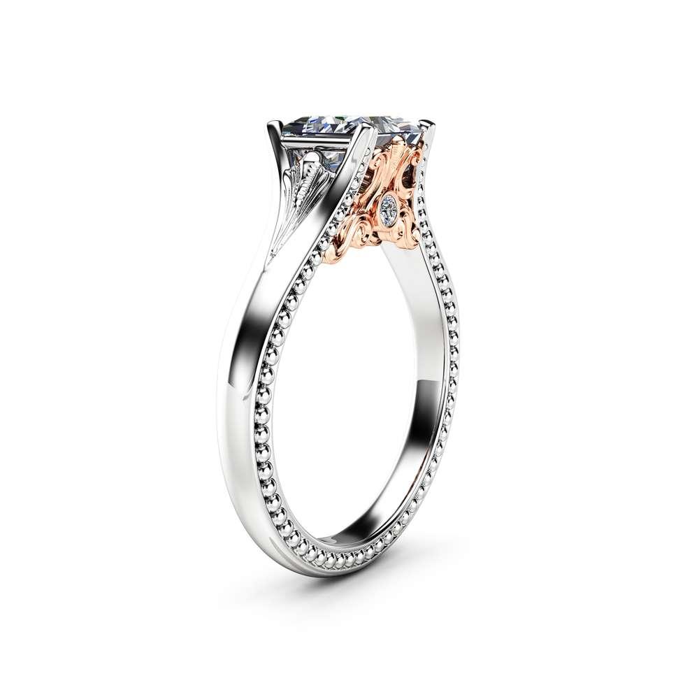 Princess Moissanite Vintage Promise Ring  14K Two Tone Gold Engagement Ring Princess Cut Engagement Ring