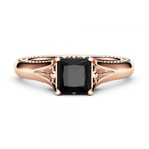 Princess Black Diamond Vintage Promise Ring 14K Two Tone Gold Engagement Ring Princess Cut Engagement Ring
