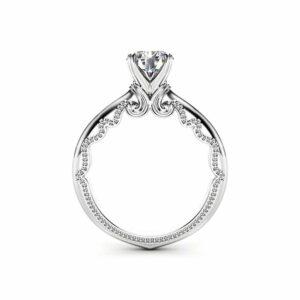 Moissanite Solitaire Engagement Ring 14K White Gold Promise Ring Miligrain Ring Anniversary Gift