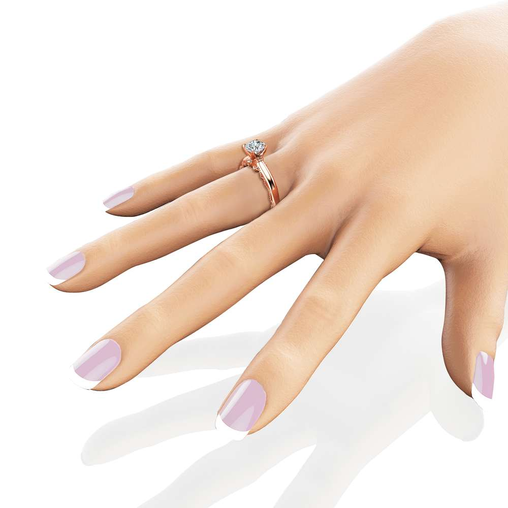 Solitaire Moissanite Engagement Ring 14K Rose Gold Moissanite Solitaire Ring Unique Alternative Engagement Ring