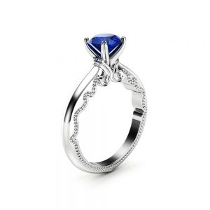 Solitaire Blue Sapphire Engagement Ring 14K White Gold Ring  Victorian Alternative Sapphire Ring