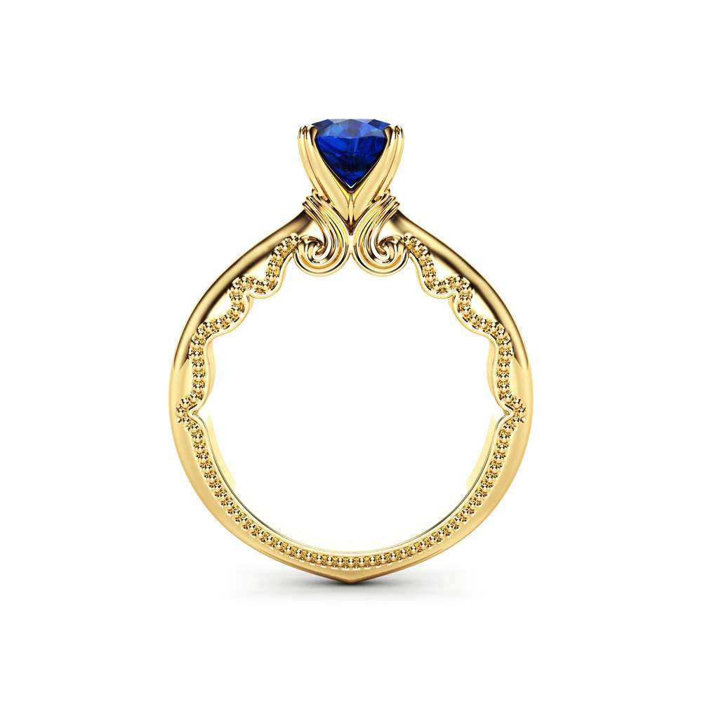 Blue Sapphire Engagement Ring 14K Yellow Gold Milgrain Ring Victorian Promise Ring Anniversary Gift