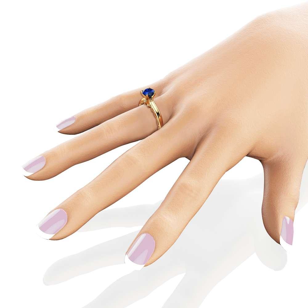 Blue Sapphire Engagement Ring 14K Yellow Gold Milgrain Ring Victorian Promise Ring Anniversary Gift
