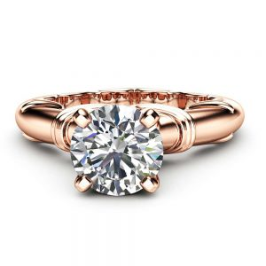 Victorian Moissanite Solitaire Ring 14K Rose Gold Moissanite Engagement Ring Unique Alternative Promise Ring