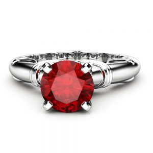 Unique Solitaire Ruby Ring 14K White Gold Ring Victorian Engagement Ring Ruby Anniversary Ring