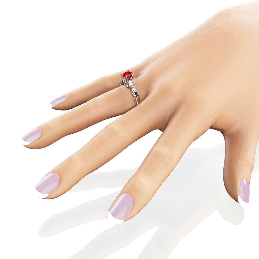 Natural Garnet Promise Ring 14K White Gold Engagement Ring Unique Victorian Garnet Anniversary Ring