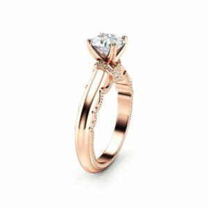 Estate Moissanite Engagement Ring 14K Rose Gold Estate Ring Unique Moissanite Band Anniversary Gift