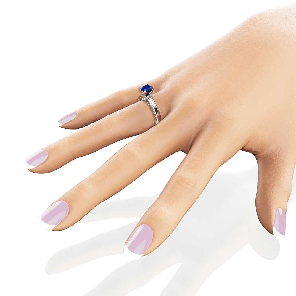 Estate Blue Sapphire Engagement Ring 14K White Gold Estate Ring Unique Blue Sapphire Band September Birthstone