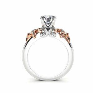Moissanite Engagement Ring 14K White Gold Ring Rose Gold Engagement Ring