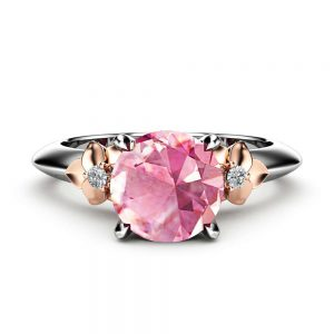 Floral 14k White Gold Pink Moissanite Engagement Ring / Alternative Ring / Pink Moissanite Ring / Flower Ring / Camellia Jewelry