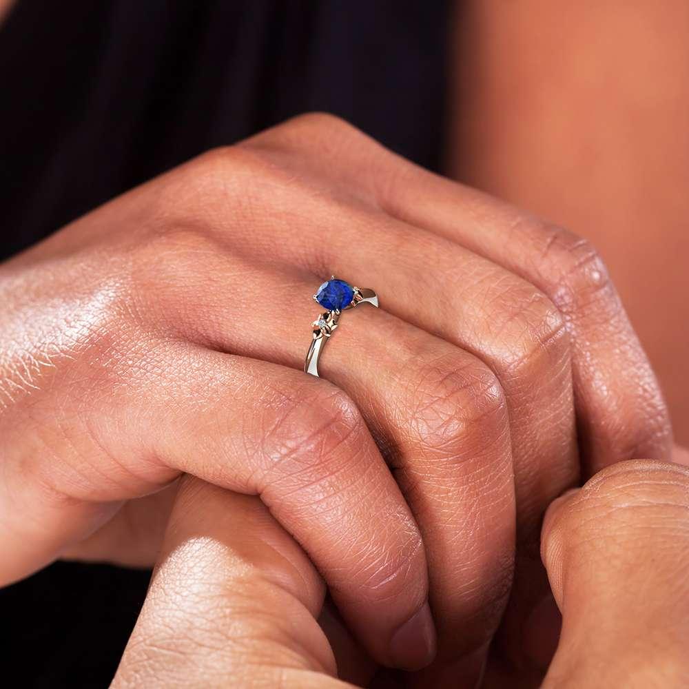 14K White Gold Natural Blue Sapphire Engagement Ring for Women / Gold Flower Ring / Gemstone Engagement Ring / Unique Floral Engagement Ring