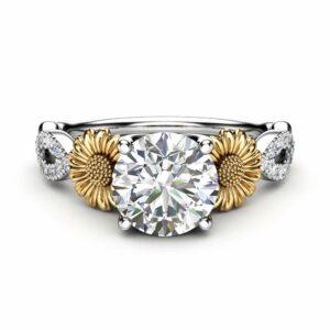 Sunflower Engagement Ring, 14K White and Yellow Gold Moissanite Engagement Ring