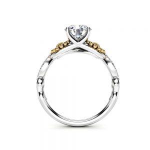Sunflower Engagement Ring, 14K White and Yellow Gold Moissanite Engagement Ring