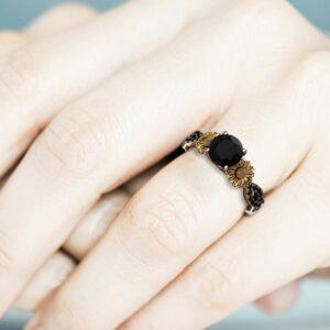 Natural Black Diamond in 14k Gold Sunflower Engagement Ring / Sunflower Ring for Women, Unique Flower Ring / Black Diamond Engagement Ring